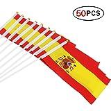 Naisidier Bandera de España de 5,5 x 8,3 pulgadas, pequeña bandera de mano de 50 piezas Mini bandera de España
