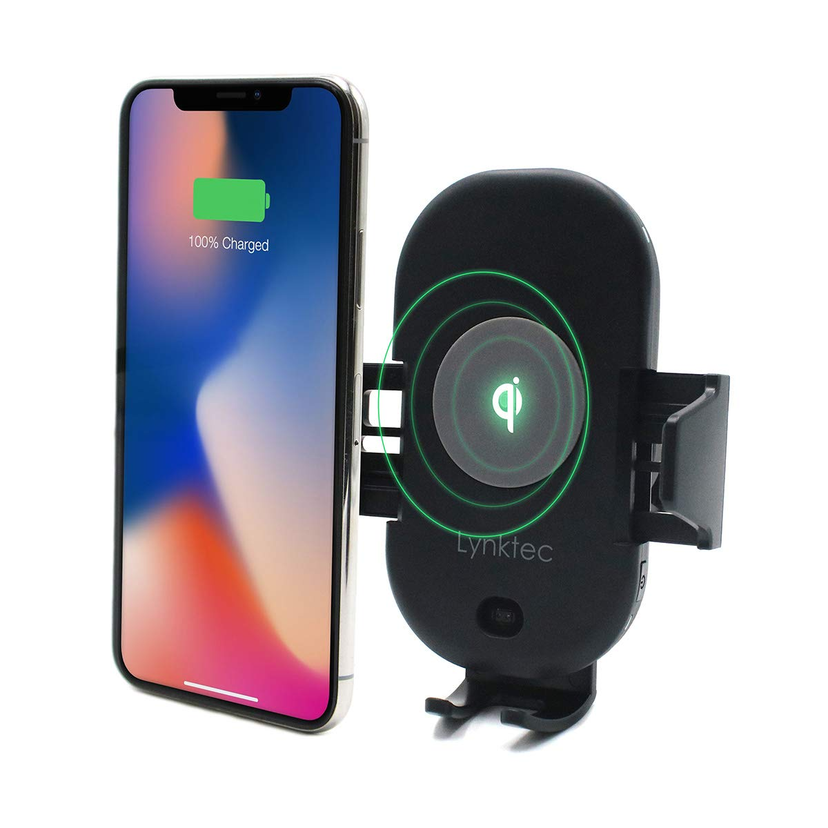 Bolt Car Mount and Qi Fast Wireless Charger with Auto Sense Locking for iPhone X, XS, 8, 8 Plus, Galaxy S10, S10+, S9, S9+, S8, S8+, and Qi-Enabled Devices