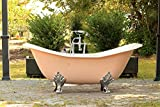 Pastel Pink Antique Inspired 6' Cast Iron Double Slipper Clawfoot Bathtub Package Original Porcelain Chrome Accents