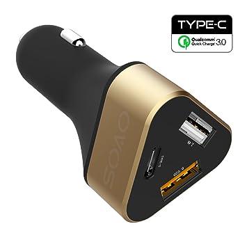 OVOS Cargador rápido para coche USB Carga rápida 3.0 3 puertos Cargadores de vehículos con QC 3.0 + tipo C