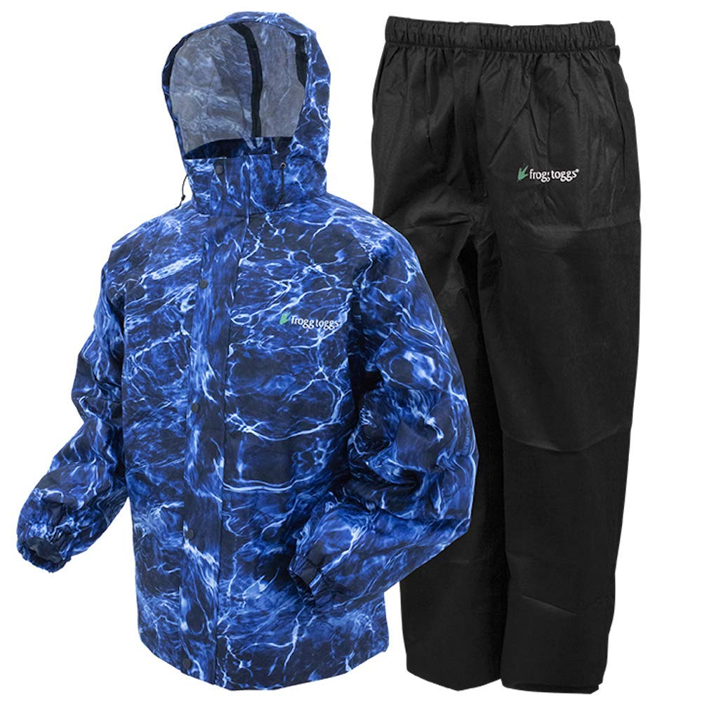 Frogg Toggs All Sport Rain Suit, Mossy Oak Elements Blue Marlin/Black Pants, Size Small by Frogg Toggs