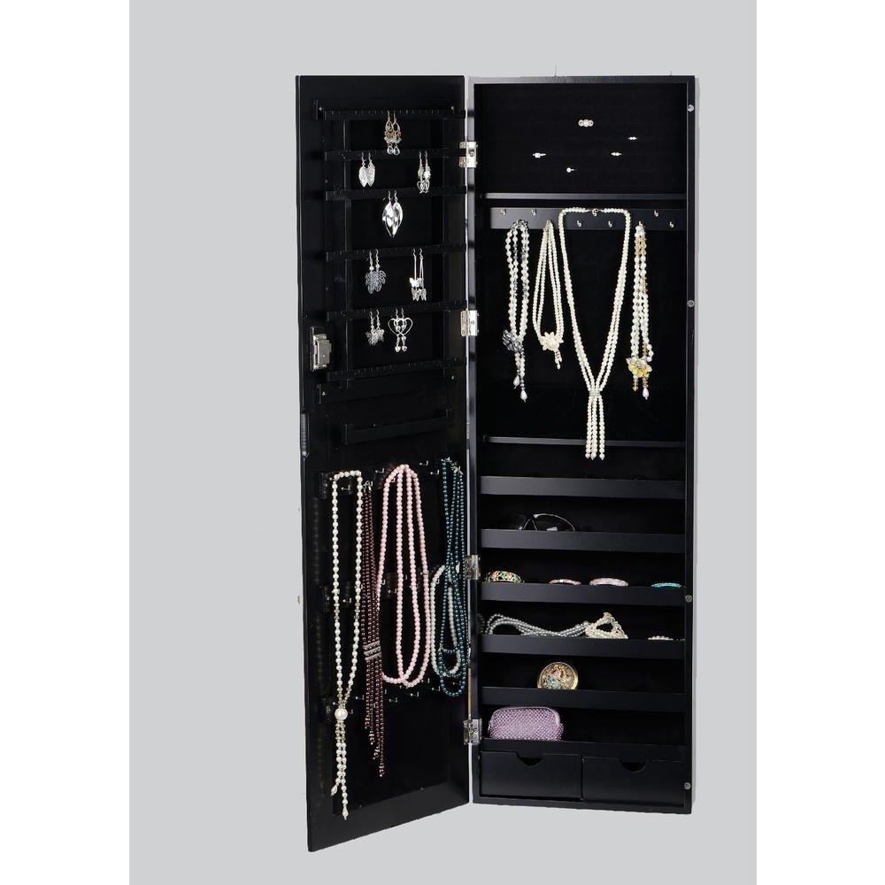 BTEXPERT Premium HandMade Wooden Jewelry Armoire Cabinet Wall mount Over Door Hanger Safe Locking Organizer Storage Cheval Mirror Store Rings, Holder, Necklaces, Earrings Organizer, Key lock Black