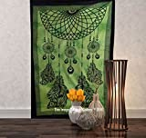 Tapestry Single Dream Catcher hippie mandal Wall Hanging Art Decor Mandala Tapestries Hippie Dorm 84X55 inches AAKRITI GALLERY (Green)