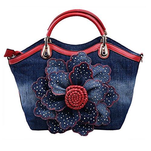 for Portable Evening Handbag Women Ruiatoo with Flower Red Leisure Bag Clutch Messenger Denim Rhinestone Rose fq4AwIZxT
