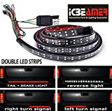 ICBEAMER 5-Function 60'' 2 Row LED Truck Tailgate Side Bed Light Strip Bar Waterproof Reverse Turn Signal, Parking, Brake