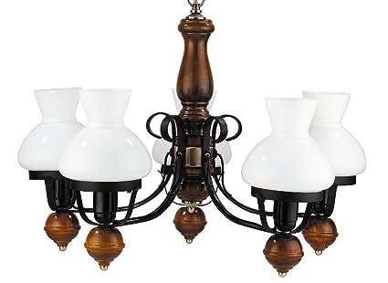 Brauner Echt Holz Kronleuchter Metall Glas Landhaus 5 Flmg Esstisch Wohnzimmer Hängeleuchte Lampe
