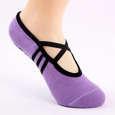 Chaussettes de yoga, GreatestPAK Fitness Non Slip Pilates Massage Ballet Exercice Gym Chaussettes