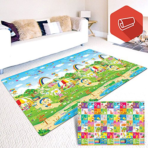Baby & Kids Safety Play Mat, Eutuxia [Large: 77 ''X 55 '' X 0.5 ''] Great Playmat For Baby Crawling, Kids Activity! -[Picnic Fun/ Fun Alphabet] by Eutuxia