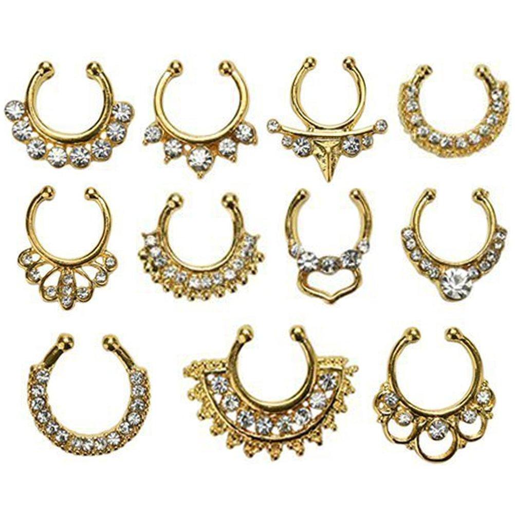Mcree 11PCS Crystal false Nonpiercing naso anello per donne, Open Hoop primavera anello nessun dolore golden Dazzling Sunshine