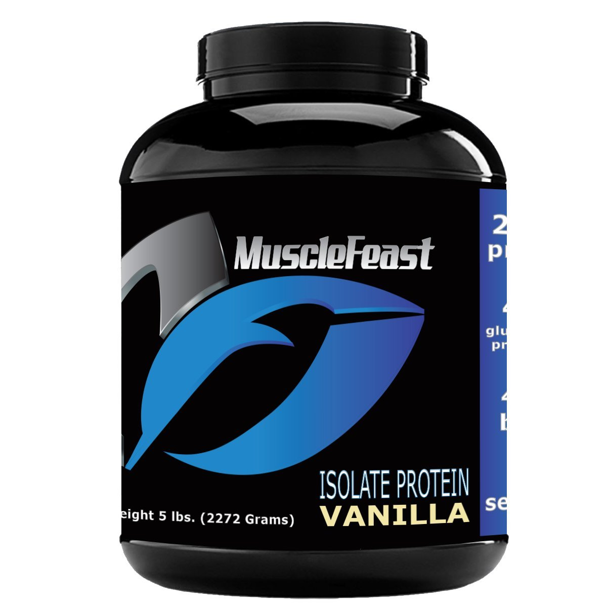 Grass Fed Whey Protein Isolate - by Muscle Feast   All Natural, Lactose Free and Hormone Free   NO Soy, Gluten or GMOs   4.7g of BCAA's Per Serving (5lb, Vanilla)