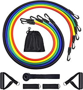 Resistance Bands Set, KINGSLIM 11 Pcs Portable Fitness Exercise Bands with Handles, Training Tubes with Anchor and Ankle Straps for Resistance Training, Home Workout and Gym Fitness