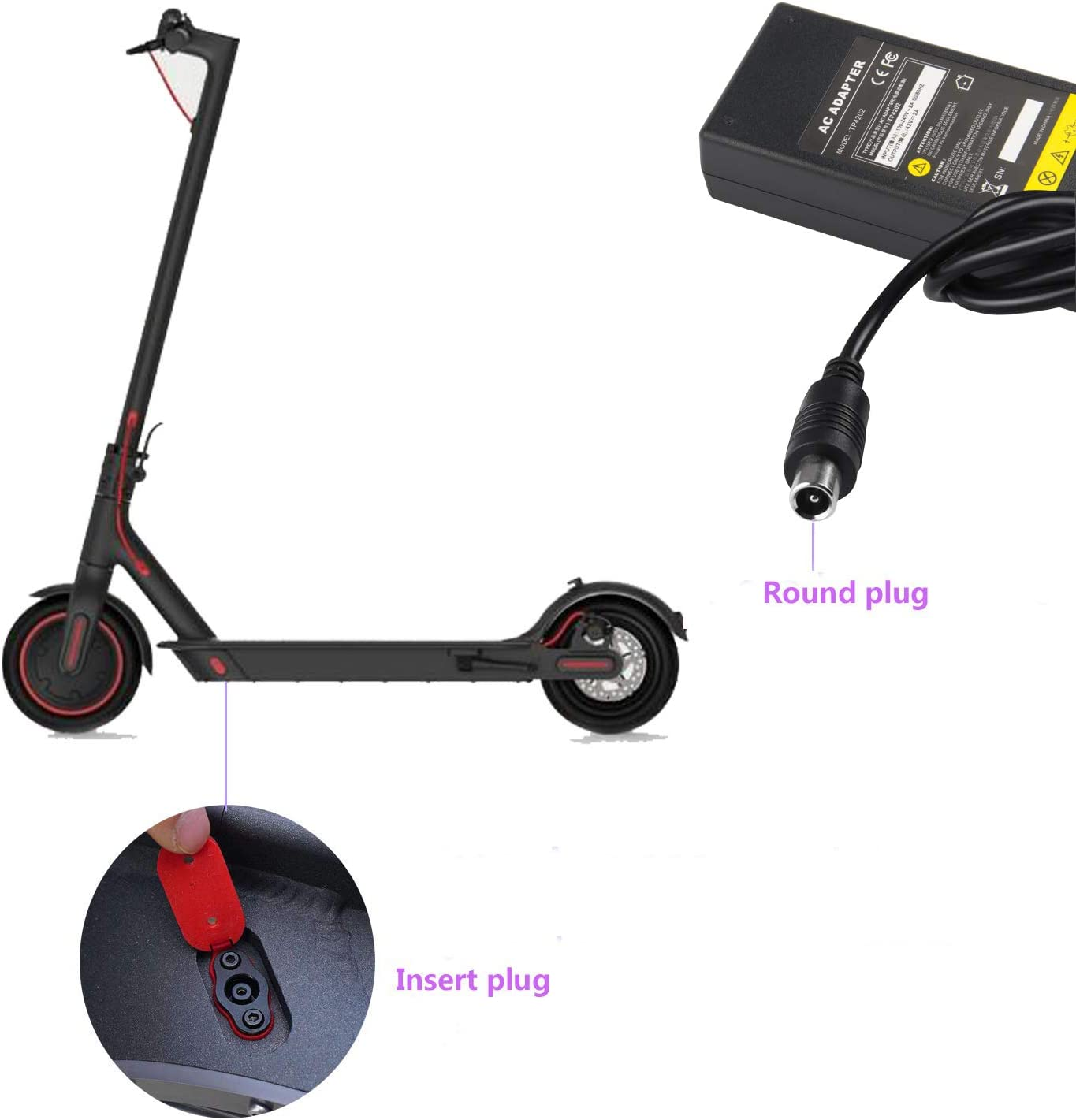 Lime-S Electric Scooter for 36V Li-ion Battery Segway Ninebot ES1 ES2 ES4 Lime Spin M365 Skip Bird 42V 2A Power Charger Adapter Cable for Xiaomi Mijia