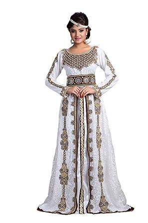 palasfashion Damen Designer Hochzeit Kaftan Kleid Weiß: Amazon.de ...