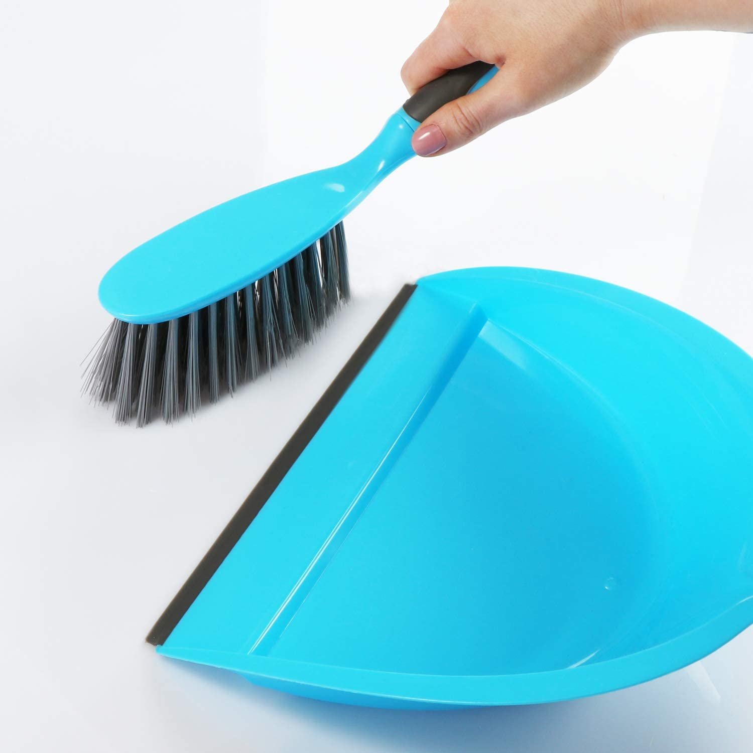 4-in-1 hand brush dustpan 06-piece cleaning set - blue com-four/® 6-piece cleaning set broom perfect cleaning starter set joint brush and dish brush