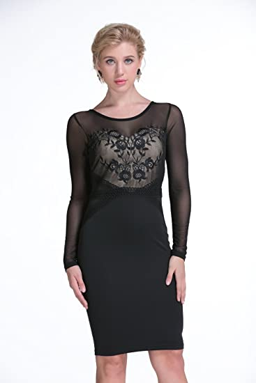 Ailisen Spring Winter Long Sleeve Patchwork Mesh Sexy Bodycon Pencil Dress:  Amazon.ca: Clothing & Accessories