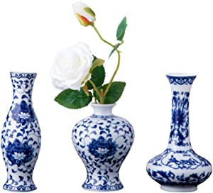Set of 3 Mini Blue & White Porcelain Vases, Fambe Glaze Porcelain Vases Set of 3, Classic Ceramic Flower Vases for Home Decor (Blue & White Porcelain Set)