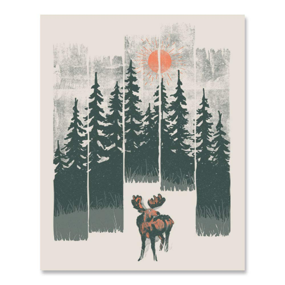 Moose Wilderness Art Print - Outdoor Wildlife Inspiration Wall Art Forest Landscape Nature Lover Wall Decor Calming Woodland Animals Sunshine Trees Mountains Lake Home Decor 18 x 24 Unframed Poster