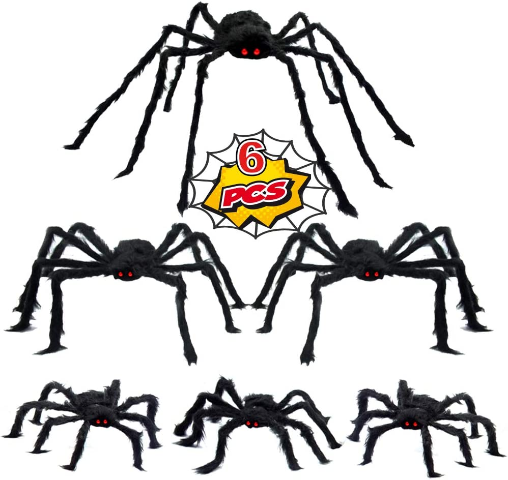 WESPREX 6 Pack Halloween Realistic Spider Decoration Set, Scary Hairy Spiders with Red Eyes and Bendable Legs for Patio, Yard, Garden, House and Wall Decoration (1 pc 50'', 2 pcs 30'', 3 pcs 20'')