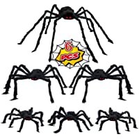 WESPREX 6 Pack Halloween Realistic Spider Decoration Set, Scary Hairy Spiders with Red Eyes and Bendable Legs for Patio…