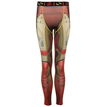 88ca32fe9e814 Sondico Marvel Iron Man Baselayer Tights Juniors Red Sports Compression  Pants 13 Years