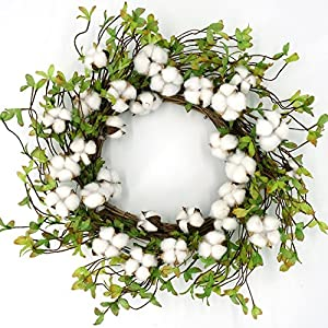 "22"" Cotton Wreath Farmhouse Natural Cotton Boll Rustic Floral Round Wreath with Artificial Green Leaves for Outdoor Indoor Wedding Centerpiece Welcome Decor 2"
