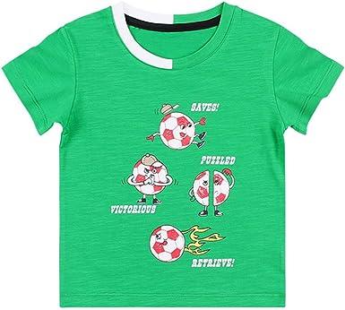 Mornyray Camiseta Estampada fútbol para niños pequeños Baby Boy Camiseta Algodón Manga Corta Verano (Color : Green, Size : 120cm): Amazon.es: Ropa y accesorios