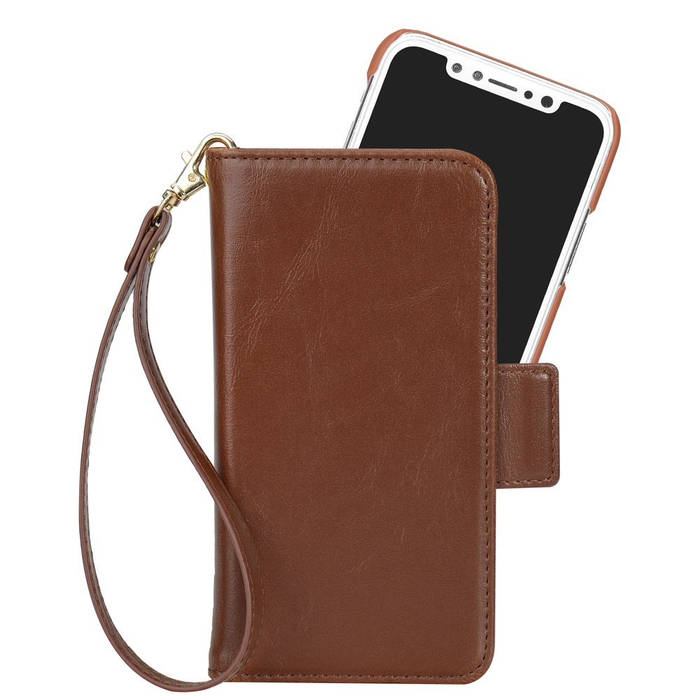 Cocases Wallet Case Compatible Iphone X Iphone 10 Cocases Detachable Flip Cover Magnetic Pu Leather Kickstand Card Slot Cash Pocket Wrist Rope