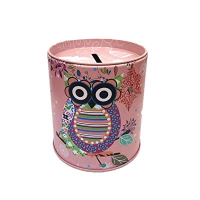 Owl Piggy Bank Tin Save Spend Share Giving Coin Money Can Keepsake Home Bedroom Nursery Party Decor Ornament Pen Pencil Brushes Holder Stationery Dresser Organizer Cup Kids Boys Girls Adults - Pink: Health & Personal Care