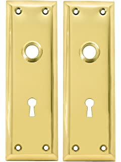 Superieur Pair Of Brass Plated New York Style Back Plates With Keyhole