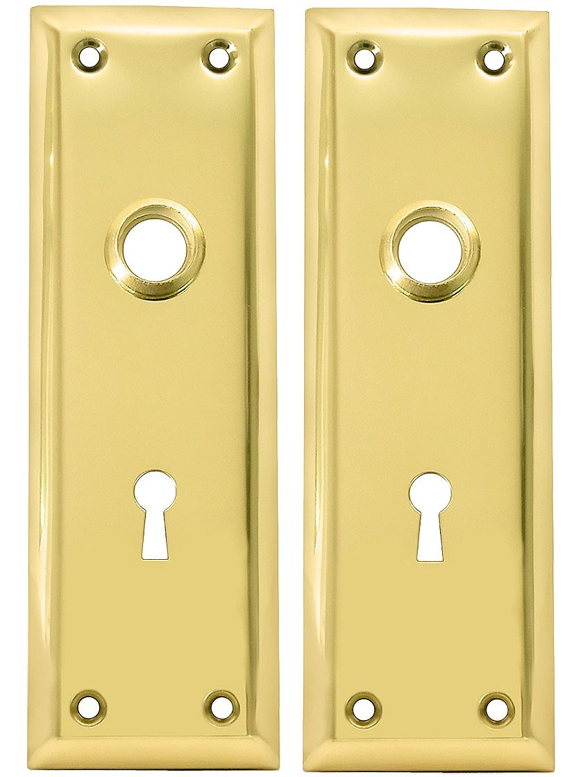 Pair Of Brass Plated New York Style Back Plates With Keyhole   Door Lock  Replacement Parts   Amazon.com