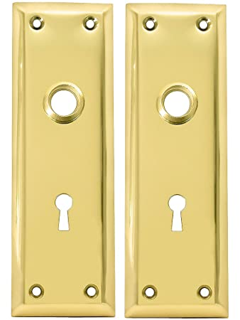 Pair Of Brass Plated New York Style Back Plates With Keyhole  sc 1 st  Amazon.com & Pair Of Brass Plated New York Style Back Plates With Keyhole ...