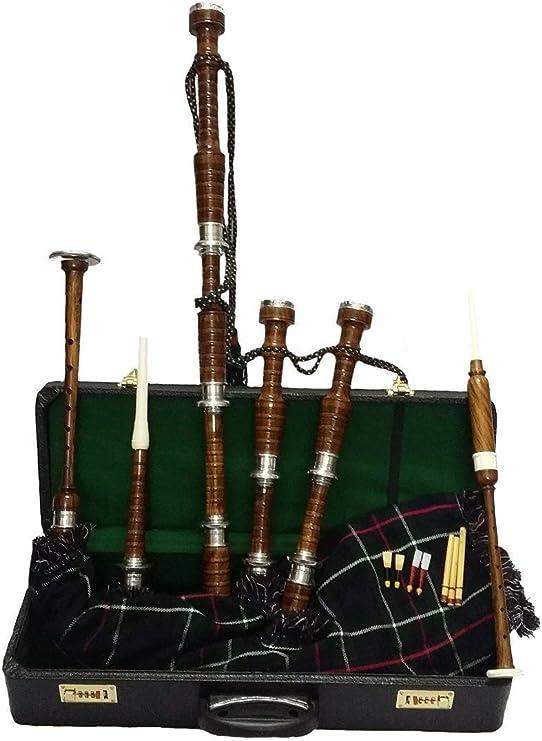 Scottish Bagpipe Rose Wood Natural Finish Metal Plain Mounts//Highland Bagpipes