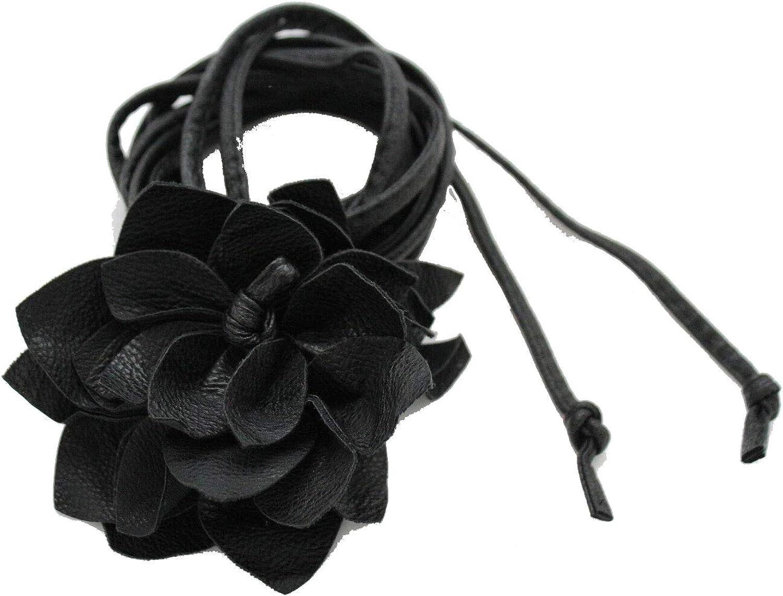 Women Fashion Tie Belt Hip Waist Black Faux Leather Gold Metal Studs Holes S M L