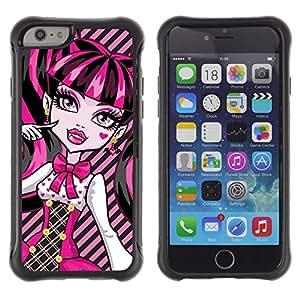 Suave TPU GEL Carcasa Funda Silicona Blando Estuche Caso de protección (para) Apple Iphone 6 / CECELL Phone case / / Pink Neon Schoolgirl Doll Face Big Eyes /