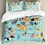 Kids Queen Size Duvet Cover Set by Ambesonne, Educational World Map Africa Camel America Lama Alligator Ocean Australia Koala Print, Decorative 3 Piece Bedding Set with 2 Pillow Shams