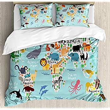 Amazon lelva blue map of the world of bedding sets cotton kids queen size duvet cover set by ambesonne educational world map africa camel america lama alligator ocean australia koala print decorative 3 piece gumiabroncs Gallery