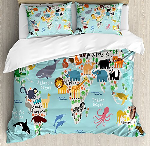 Ambesonne Africa Duvet Cover Set, Educational World Map Africa Camel America Lama Alligator Ocean Australia Koala, Decorative 3 Piece Bedding Set with 2 Pillow Shams, Queen Size, Pale Blue