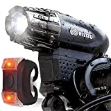 Image of Blitzu Gator 320 USB Rechargeable Bike Light Set POWERFUL Lumens Bicycle Headlight FREE TAIL LIGHT, LED Front and Back Rear Lights Easy To Install for Kids Men Women Road Cycling Safety Flashlight