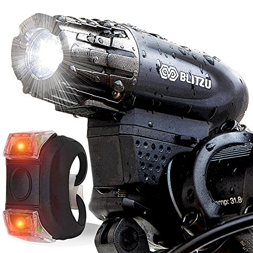 Cycling Headlight - BLITZU Gator 320 USB Rechargeable Bike Light Set Powerful Lumens Bicycle Headlight Free Tail Light, LED Front Back Rear Lights Easy to Install Kids Men Women Road Cycling Safety Flashlight
