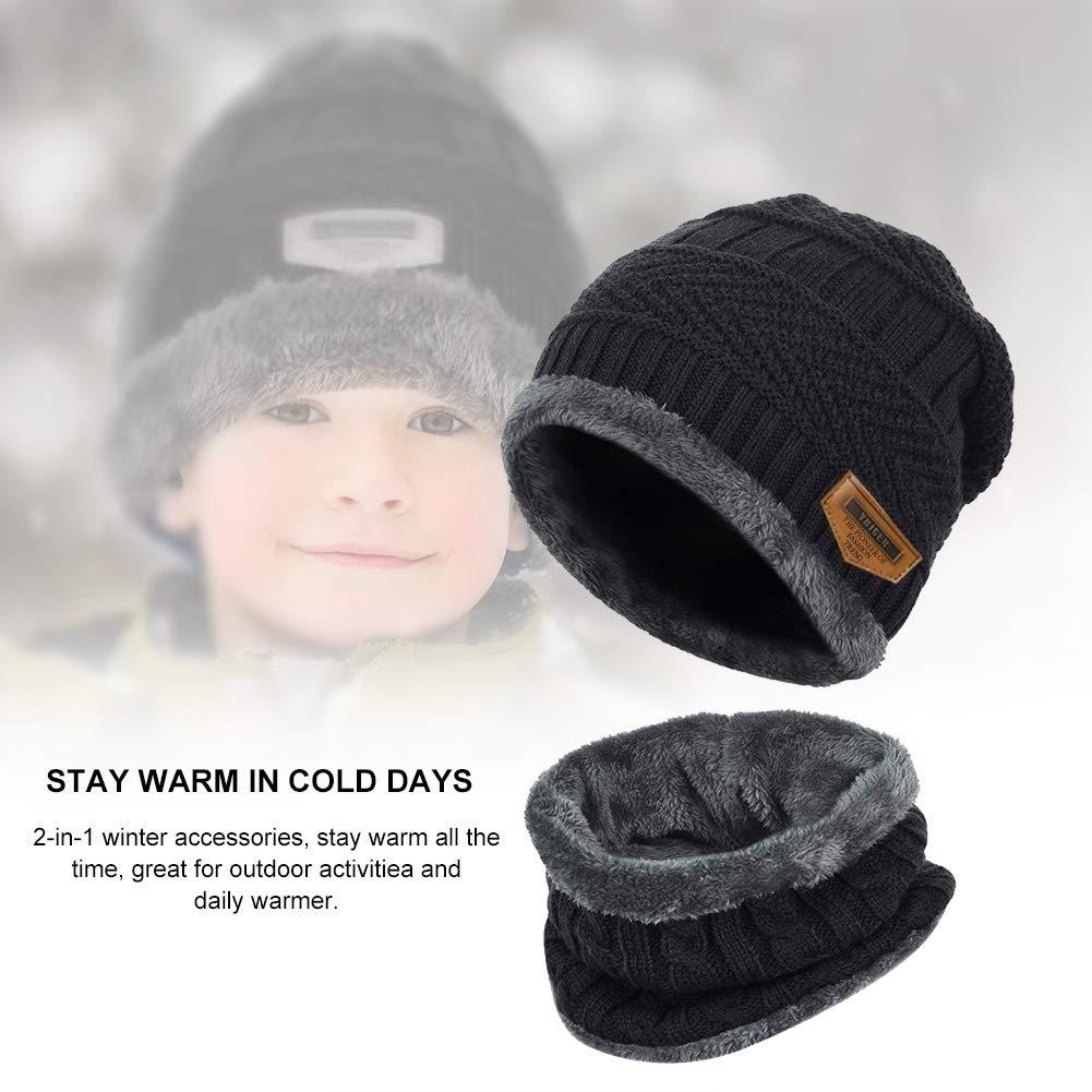 Vbiger Enfants Bonnet Tricoté Écharpe Épais Tour De Cou Avec Double polaire pour Garçons et Filles,2 Pièces, Noir, Taille unique