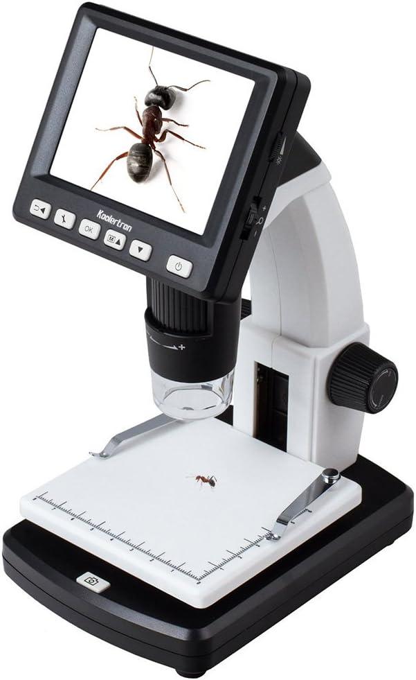 Koolertron USBマイクロスコープ 3.5インチ液晶モニター デジタル顕微鏡(500万画素 20倍~300倍ズーム)LED付き 明るさ調節可能 台座固定スタンド付き 皮膚 頭皮診断 生物観察 宝石鑑定 繊維検査 偽造判断 実験