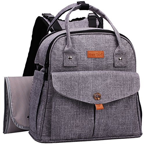 HapTim Baby Diaper Bag Backpack,Compact Baby Nappy Changing Bag(Grey - Compact Baby