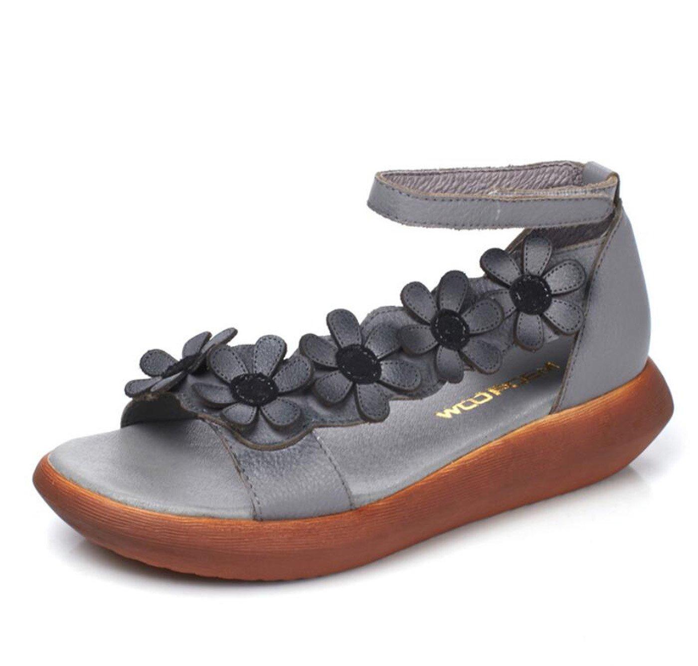 DANDANJIE Sandalen Damen Sommer Neue Mittlere Heels Handgemachte Blume Sandalen Wedges Heel Damen Schuhe (Farbe : Grau, Grouml;szlig;e : 38)  38|Grau