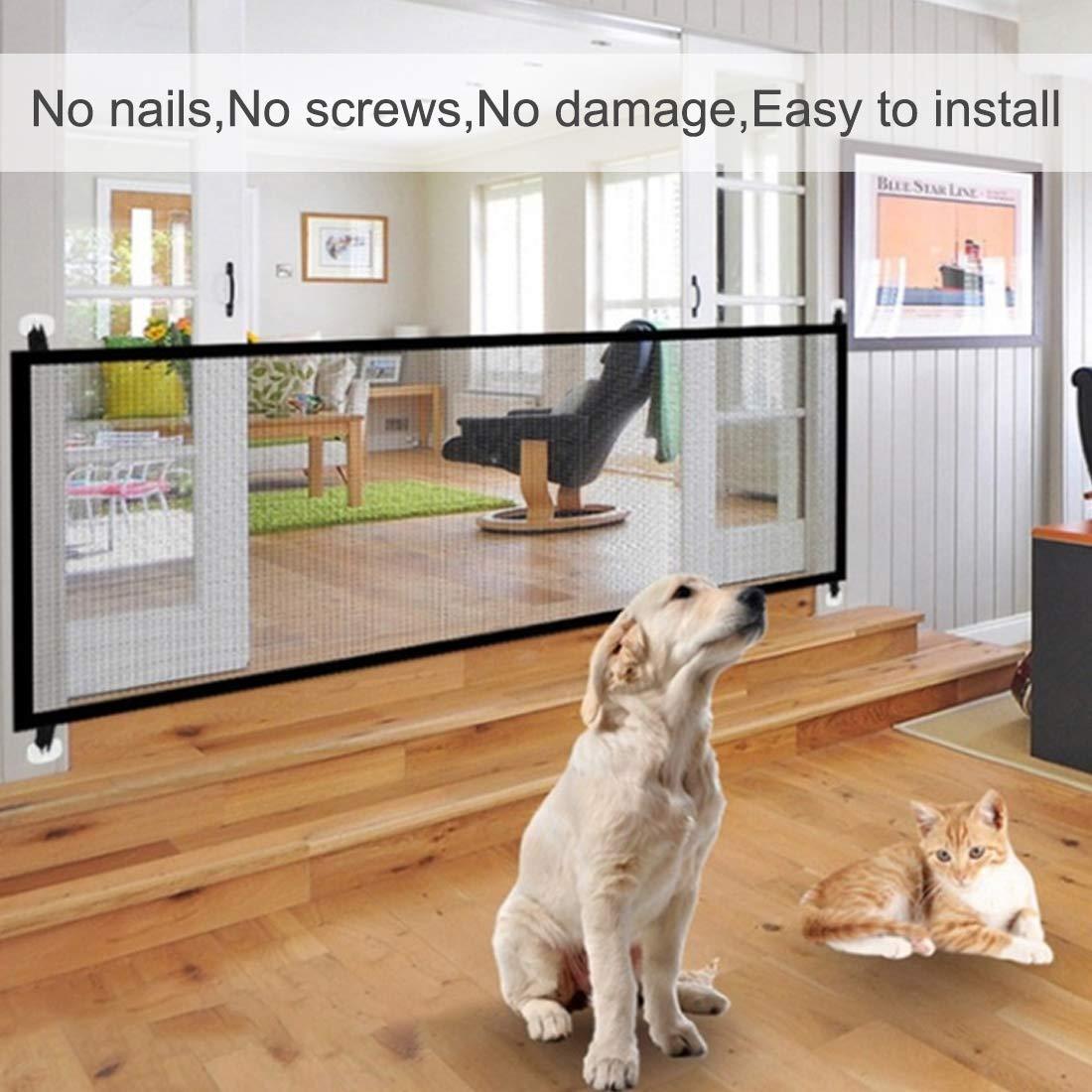 Treppenschutzgitter Hcpet Magic Gate Hunde /& Katzen Faltbar Kunststoff Hund Safe Guard Trennwand installieren /überall f/ür Babys