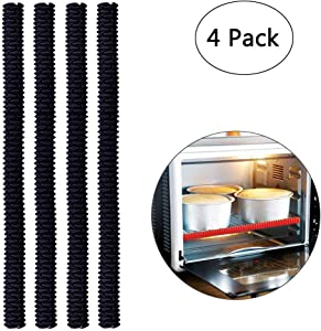 Emoly Silicone Oven Rack Shields - Portable 4 Pack Heat Resistant Silicone Oven Rack Cover 14 inches Long Oven Accessories Rack Edge Protector, Protect Against Burns and Scars (Black)