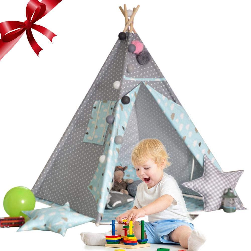 caliente azul Ritapreaty - Tienda de campaña Infantil Infantil Infantil para Escalada de bebés, Interior de Sala de Juegos, decoración de Bolas de Lana blancoa  Tienda 2018
