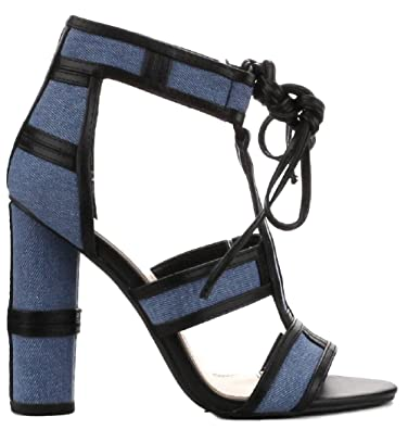 Cape Robbin Maura 2 Denim Lace Up Open Peep Toe Strappy Block Heel Denim Sandal Shoe Blue (10)