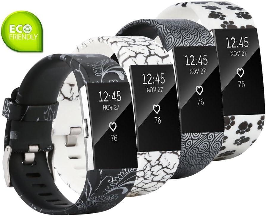Fit-power para Fitbit Charge 2 Bandas, Suave y Ajustable Repuesto de Pulsera Deportiva para Fitbit Charge 2 pequeño/Grande