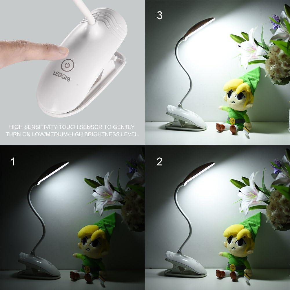 Bureau Rechargeable avec de Luminosité Blanc Lecture Lampe de à de Lampe LEDGLE 8W Pince Livre USB3 Niveaux Led Câble Pour TFKc3J1l