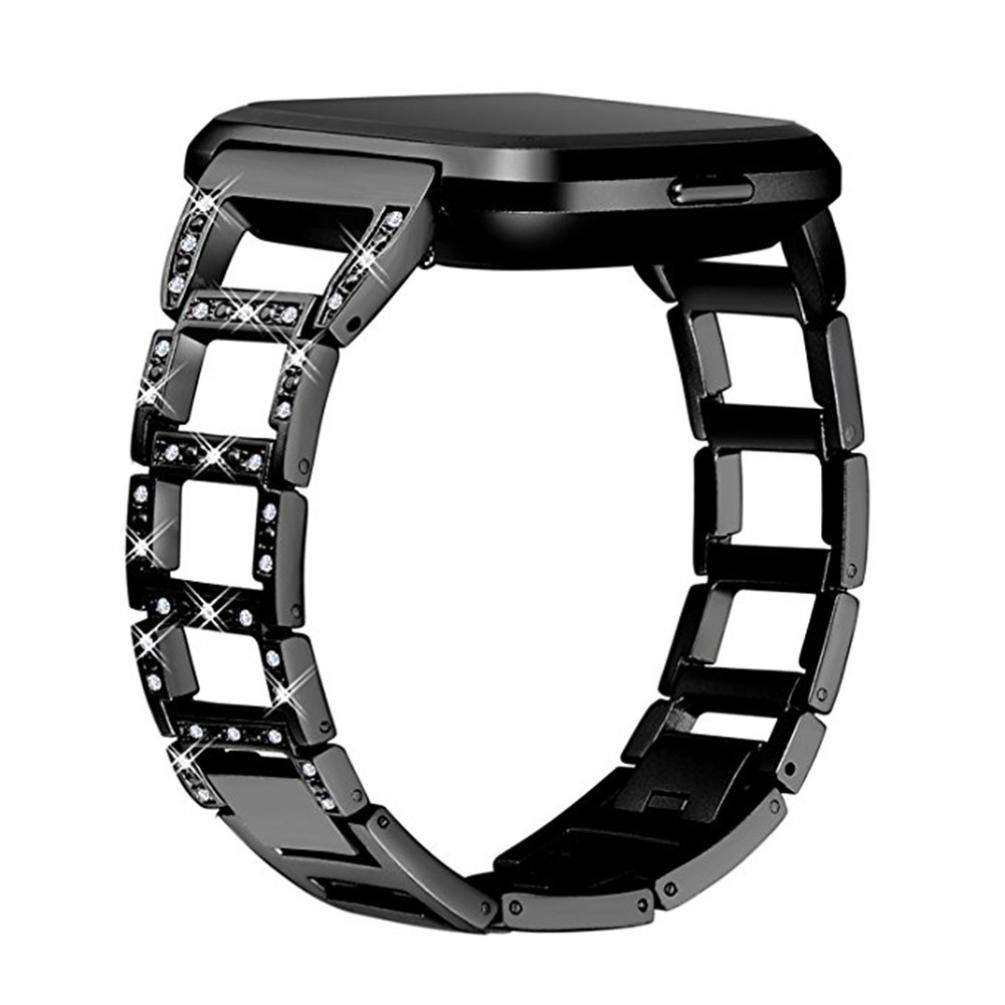 KFSO for Fitbit Versa,Luxury Stainless Steel Crystal Strap Wrist Band Replacement (Black)